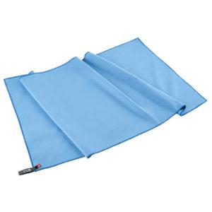 Sac du voyageur : serviette en microfibre bleue, beaucoup plus légère qu'une serviette en coton. C'est donc la serviette idéale pour voyager.