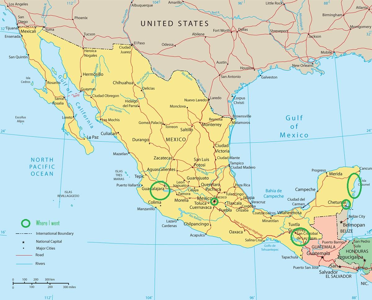 Carte du Mexique. Les zones entourées en vert sont celles où je suis allée : Guadalajara, Mexico city, las chiapas, san cristobal, playa del carmen, chetumal
