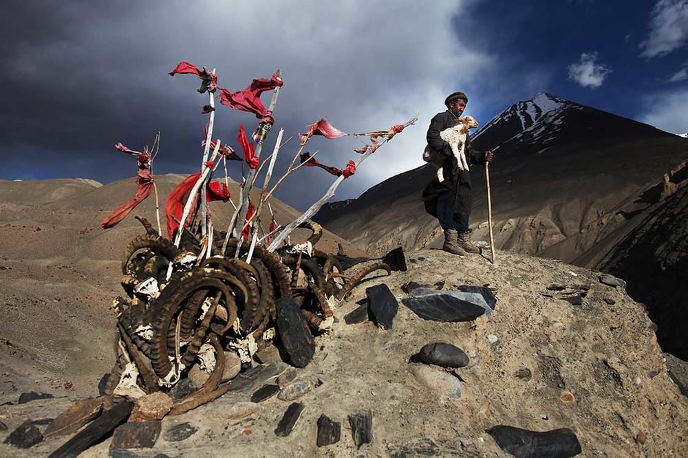 photo d'un homme sur une montagne qui tient une brebis dans ses bras. Il se tient à côté de cornes d'ibex recouvertes de tissus rouges, symbole de la foi ismaélienne et de rite préislamique, à Langar. Extrait du livre Ashayer, Nomades