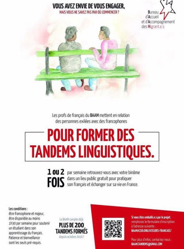 baam tandems linguistiques pour faire don d'un moment par semaine à partager avec les réfugiés