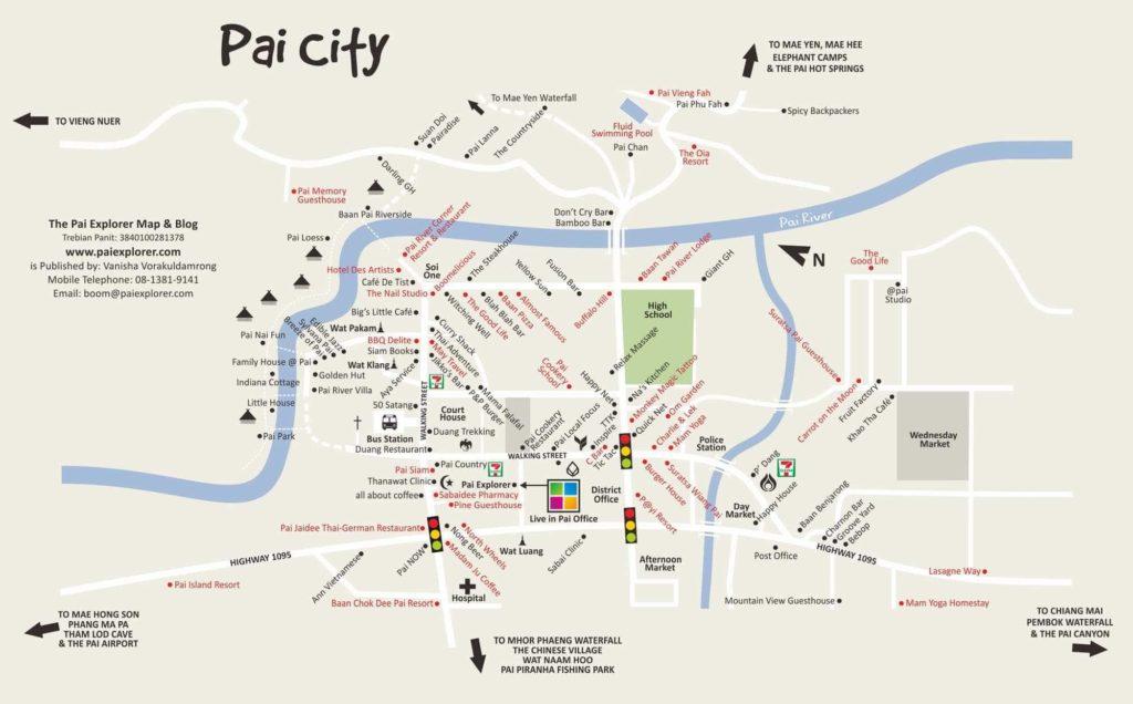 carte du village de Pai thailande