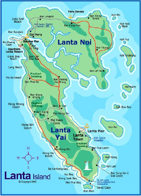 koh lanta map/carte de Koh Lanta, île séparée en deux parties : Lanta Noi et Lanta Yai