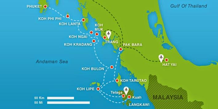 Carte des îles de la mer d'Andaman en Thaïlande