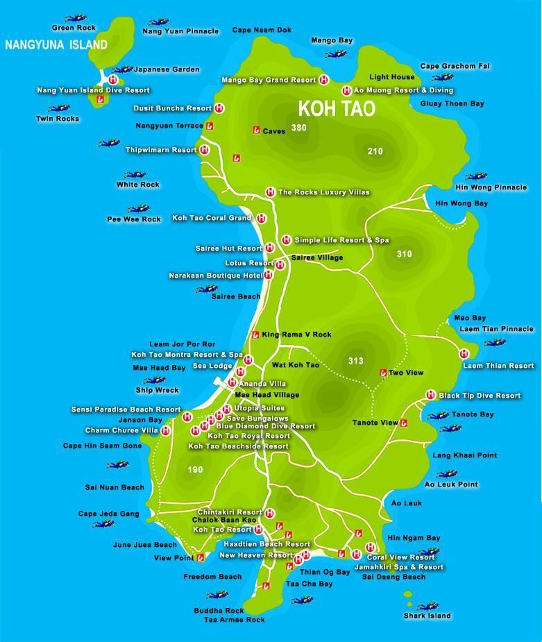 Carte de l'île de Koh Tao, Thaïlande