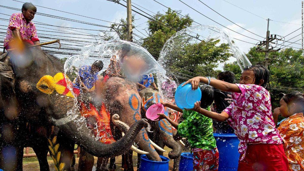 bataille d'eau entre les hommes et les éléphants à Ayuttaya pendant Songkran