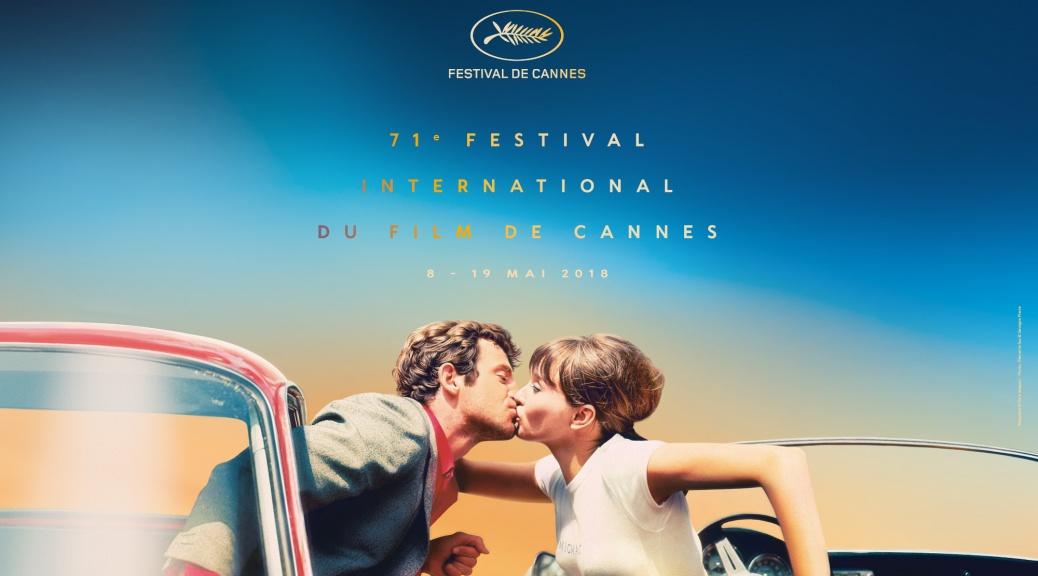 affiche du 71ème festival de cannes par Georges Pierre. Photo d'un homme et d'une femme qui s'embrassent, extrait du film Pierrot le Fou de Jean-Luc Godard